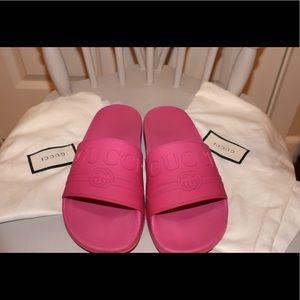 Gucci Pink Slides